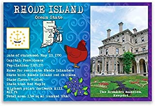 RHODE ISLAND STATE FACTS postcard set of 20 identical postcards. Post cards with RI facts and state symbols. Made in USA.