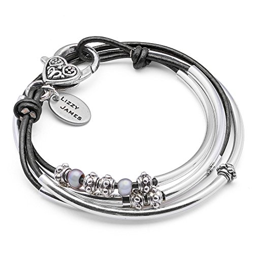 Lizzy James Mini Charmer Natural Black Leather and Silver Plate Wrap Bracelet with Freshwater Pearls