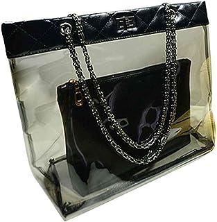 Two Bag Set Women Girl Transparent Sling PU transprent crossbody Chain Shoulder Bags Handbag Good Security PU Crossbody Me...