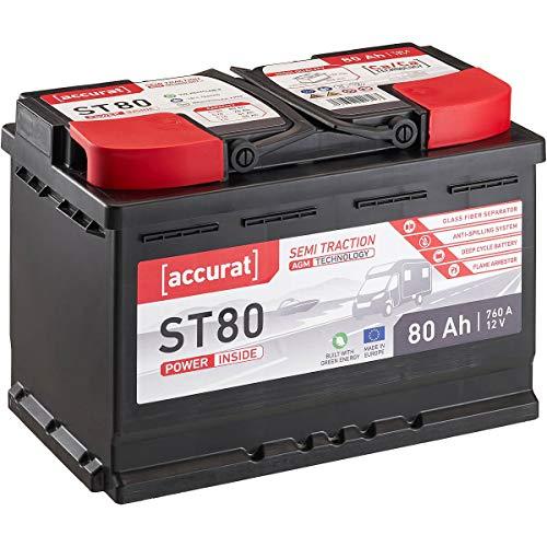 Accurat 12V 80Ah AGM Blei-Akku zyklenfeste Versorgungsbatterie VRLA Starterbatterie Semi Traction ST80 wartungsfrei