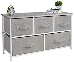 5-DRAWER DRESSER (GRAY) — Style meets function with our dresser chest, complete with a wood surface and storage drawers — Pairs beautifully with the Sorbus Foldable Furniture Collection DISPLAY & DE-CLUTTER — Wood top provides hard surface for displa...