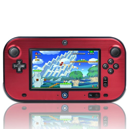 TNP Wii U Gamepad Case (Red) - Plastic + Aluminium Full Body Protective Snap-on Hard Shell Skin Case Cover for Nintendo Wii U Gamepad Remote Controller