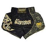 SOTF Muay Thai - Pantaloncini da combattimento per bambini e uomini, con elastico in vita Kickboxing MMA - nero - M vita 64/79 cm