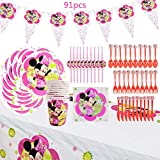 WENTS Set de Fiesta de cumpleaños de Minnie 91PCS Disney Minnie Mouse Party Decoration Set Platos Tazas Servilletas Pack de Fiesta reciclable Minnie Mantel Sirve para 10 Invitados