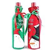 MOSINITTY Weinflaschen-Beutel, Champagner-Pailletten, Halter für Weihnachten, Zuhause, Dinner-Party, Dekoration, Geschenke, Weihnachtsmann