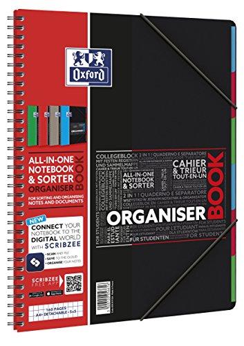 OXFORD 400019524 Organiserbook Studium 5er Pack mit 4 Farben Digitaler Collegeblock A4 kariert 80 Blatt