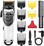 Cosyonall Cortapelos para hombre, cortapelos inalámbrico, profesional, cortapelos para barba, set de cuidado de peluquería, 8 unidades, peines deslizantes, recargable (02)