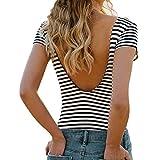 Gestreift Oberteil Damen, Ulanda Frauen Sexy V Rückenfrei Streifen T Shirt Bluse...