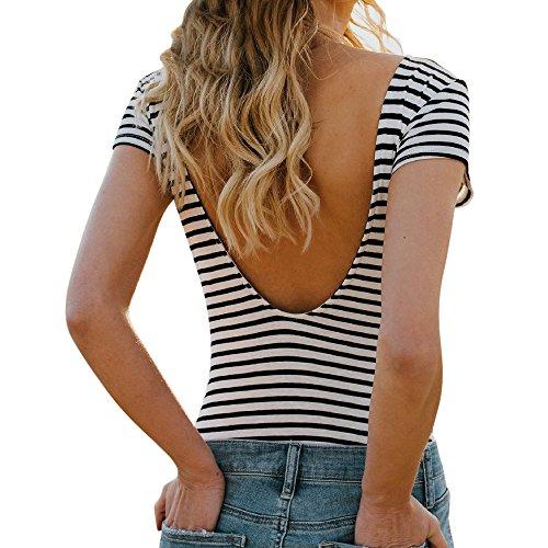 Gestreift Oberteil Damen, Ulanda Frauen Sexy V Rückenfrei Streifen T Shirt Bluse Teenager Mädchen Kurzarm Basic Baumwolle Sommer Shirt Crop Tops Hemd Pullover Sale