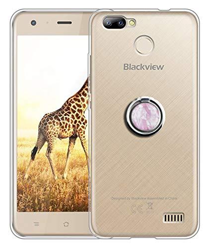 Sunrive Für Blackview A7 5,0 Zoll Hülle Silikon, Transparent Handyhülle 360°drehbarer Ständer Ring Fingerhalter Fingerhalterung Schutzhülle Etui Case(Rosa Marmor) MEHRWEG