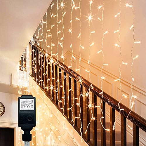 ITICdecor - Cortina luminosa de 6 m x 1 m, 300 LED, 8 modos de iluminación exterior, impermeables, luces de Navidad, bajo voltaje, 31 V, jardín, interior, dormitorio, boda, blanco cálido