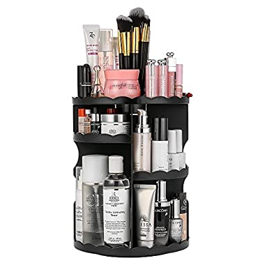Jerrybox 360-Degree Rotating Makeup Organizer, Adjustable Multi-Function Cosmetic Storage Unit, Compact Size with Large Capacity, Fits Different Types of Cosmetics and Accessories, Black