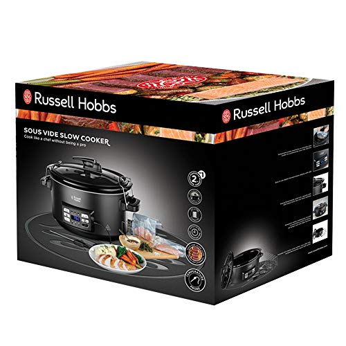 Russell Hobbs Sous Vide - Slow Cooker, 350 W, Pentola in Ceramica, 6 Porzioni, Nero 25630-56