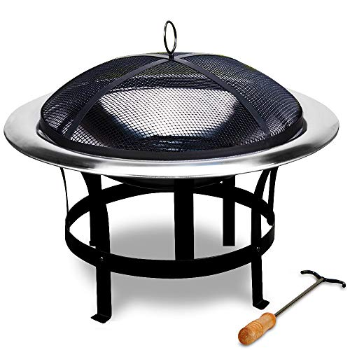 Deuba Fire Bowl Pit Basket Stainless Steel BBQ Garden Grill Brazier Heating Wood Charcoal Lid Hook