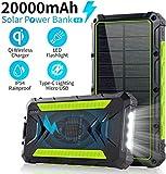 slols Power Bank Solar 20000mAh, Cargador Solar Portátil Batería Externa Móvil con 2 Salidas USB y 1 Tipo C 3.0A de Alta Velocidad, 4 lámparas LED (Modo SOS) y Gancho, para iPhone iPad Samsung