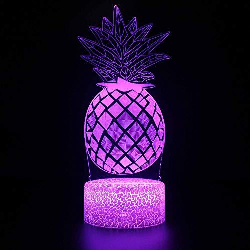 Piña 3D lámpara noche luz para niños mesa escritorio ilusión óptica Lámparas cargador USB para niños regalo cabecera dormitorio decoración del hogar
