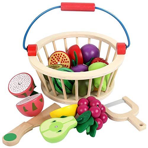 Juego de 14 juguetes de cocina para niños, para cortar alimentos, frutas y verduras, con cesta, de madera con conexión de velcro, para aprender pedagógica, juguete educativo, regalo
