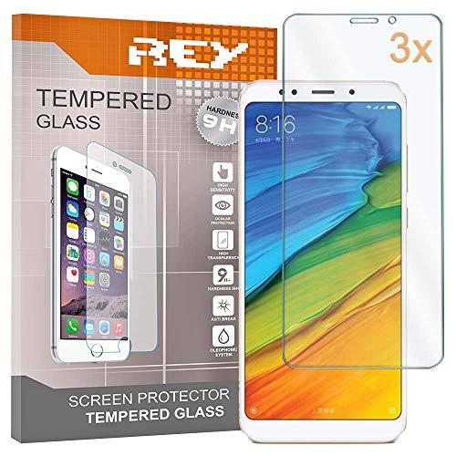 3X Protector de Pantalla para XIAOMI REDMI 5 Plus, Cristal Vidrio Templado Premium