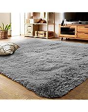 輝点 ラグ洗えるラグマット絨毯カーペット約2畳滑り止め付約 防ダニ夏冷房対策ふわふわ床暖房対応センターラグ抗菌消臭カーペット長方形