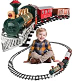Train Set for kids w/ Lights and Sounds - Battery Operated Electric Classic Model Train with 8 Rails, Locomotive Steam Engine and 3 Train Cars - Gift for Boys & Girls Age 3 4 5 6 7 - Easy Assembly