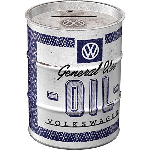 Nostalgic-Art Retro Ölfass-Spardose Volkswagen General Use Oil – Geschenk-Idee für VW Bus Fans, Metall-Sparschwein, Vintage Sparbüchse, 600 ml