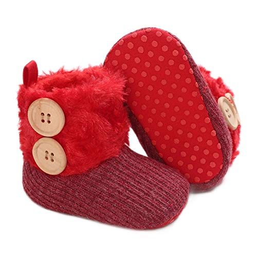 RVROVIC Baby Girls Snow Boots Infant Toddler Warm Winter Shoes Premium SoftAnti-Slip Prewalker(12-18 Months Toddler,3-Red)