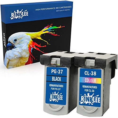 RINKLEE Remanufacturado para Canon PG-37 PG37 CL-38 CL38 Cartucho de Tinta Compatible con Canon Pixma Pixma MP210 MP220 MX310 MX300 MP140 MP190 MP470 iP1800 iP1900 iP2500 iP2600   1 Negro, 1 Tricolor