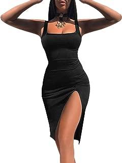 Women's Sexy Bodycon Sleeveless Basic Tank Knee Length Club Dress Side Slit