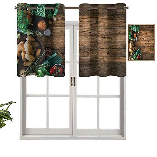 Cenefa de cortina con ojales de alta calidad en mesa de madera, opciones saludables, alimentos orgánicos, hierbas y especias de temporada, juego de 1, 137 x 45 cm para decoración de interiores
