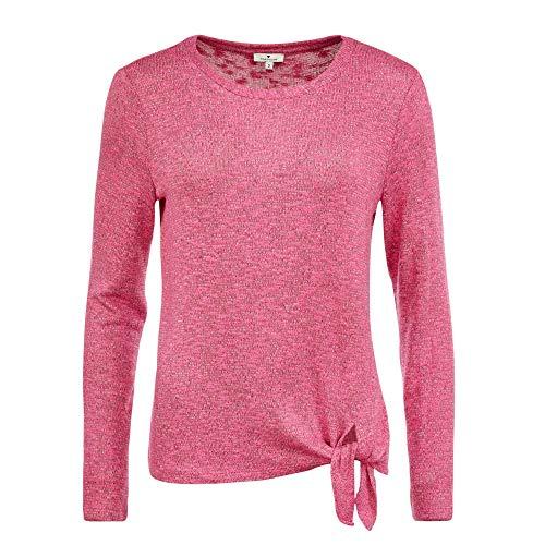 TOM TAILOR Damen Cosy Langarmshirt T-Shirt, Rosa(Charming pink melange), XXL