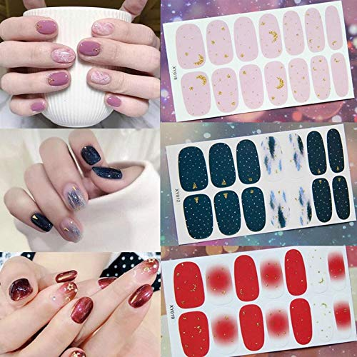 1 Sheet Nail Stickers Set Full Cover Gel Nail Strip Flower Star Moon Geometric Holographic with Diamond Effect Nail Decoration