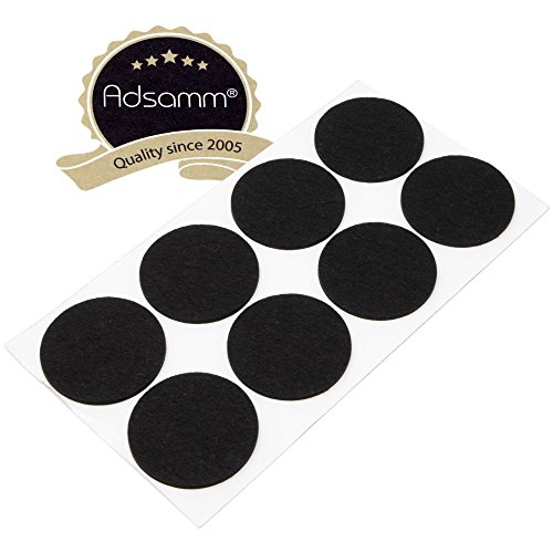 Adsamm® | 8 x Filzgleiter | Ø 60 mm | Schwarz | rund | 3.5 mm starke selbstklebende Filz-Möbelgleiter in Top-Qualität