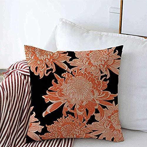 New-WWorld-Shop Kissenbezüge Zeichnung Blüte Blumenfisch Orange Pflanze Botanische Chrysanthemen Stil Hand Rot Weiß Kissenbezüge