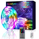 Simfonio - Guirnalda de luces LED (compatible con Alexa, Google Home, IFTTT, WiFi, inalámbrico, control inteligente, resistente al agua, 150 ledes 5050 SMD, RGB, banda LED completa), multicolor, 5,0 m