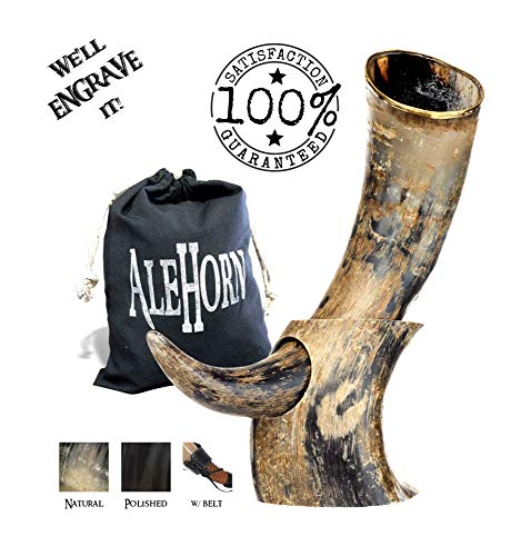 AleHorn Authentic Drinking Horn Curved Style with Stand -Natural- 12 inch- Viking Style Genuine Handcrafted Viking Beer Cup for Ale, Mead - Food Safe - Medieval Style Inspired by Game of Thrones