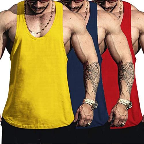 COOFANDY Tanktop Herren Sport Sommer Ärmellos Gym Muskelshirts Achselshirts Trainingsshirt Unterhemd Männer (Gelb+Blau+Rot M,3er Pack)