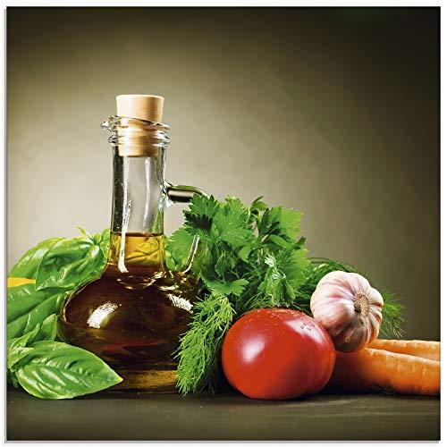 Artland Glasbilder Wandbild Glas Bild einteilig 30x30 cm Quadratisch Toskana Italien Gemüse Gewürze Kräuter Olivenöl Mediterran T5LT