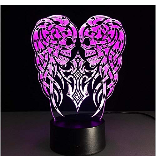 Halloween Christmas Holiday Gift 3D Optical Illusion Led Table Night Light Skull Ghost USB Cable Battery Operated Desk Lamp