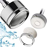 LaserJet Luxury Shower Head with Water Filter – High Pressure Laser Micro-Jets – Removable Stainless Steel Face for Easy Cleaning – Angle-adjustable Solid Brass Ball Joint – All-Chrome Finish