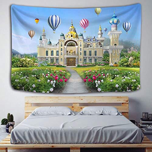 Tapiz de castillo de aire caliente para colgar en la pared, edificio de la ciudad, colcha bohemia, colchón de viaje, decoración