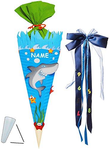 alles-meine.de GmbH BASTELSET Schultüte -  Hai Fisch & Unterwasser Welt  - 85 cm - incl. großer Schleife + Name - mit / ohne Kunststoff Spitze - Zuckertüte - Set zum selber Bas..