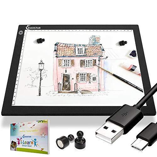XIAOSTAR A4 Lavagna Luminosa a LED Tavolo da Disegno Magnetico Tavolo Luminoso, Cavo di Ricarica di Type-c luminosità Regolabile per artisti, Animation Drawing, Sketching, Animation (A4-PS)