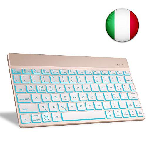 boriyuan Tastiera Bluetooth per Tablet, Italiano 7 Colori Backlist Tastiera Wireless Ultra Sottile Portatile per Laptop, Smartphone, MacBook, iOS, Android e sistemi Windows
