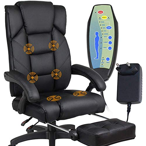 KAYBELE Boss Massage Chair Lounge Chair Household Office Chair Nap Rest Cowhide Massage Computer Chair 360 Degrees Swivel Chair,Black,002 (Color : Black, Size : 2)