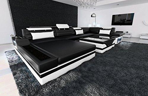Sofa Dreams Leder Wohnlandschaft Mezzo U Form schwarz-Weiss