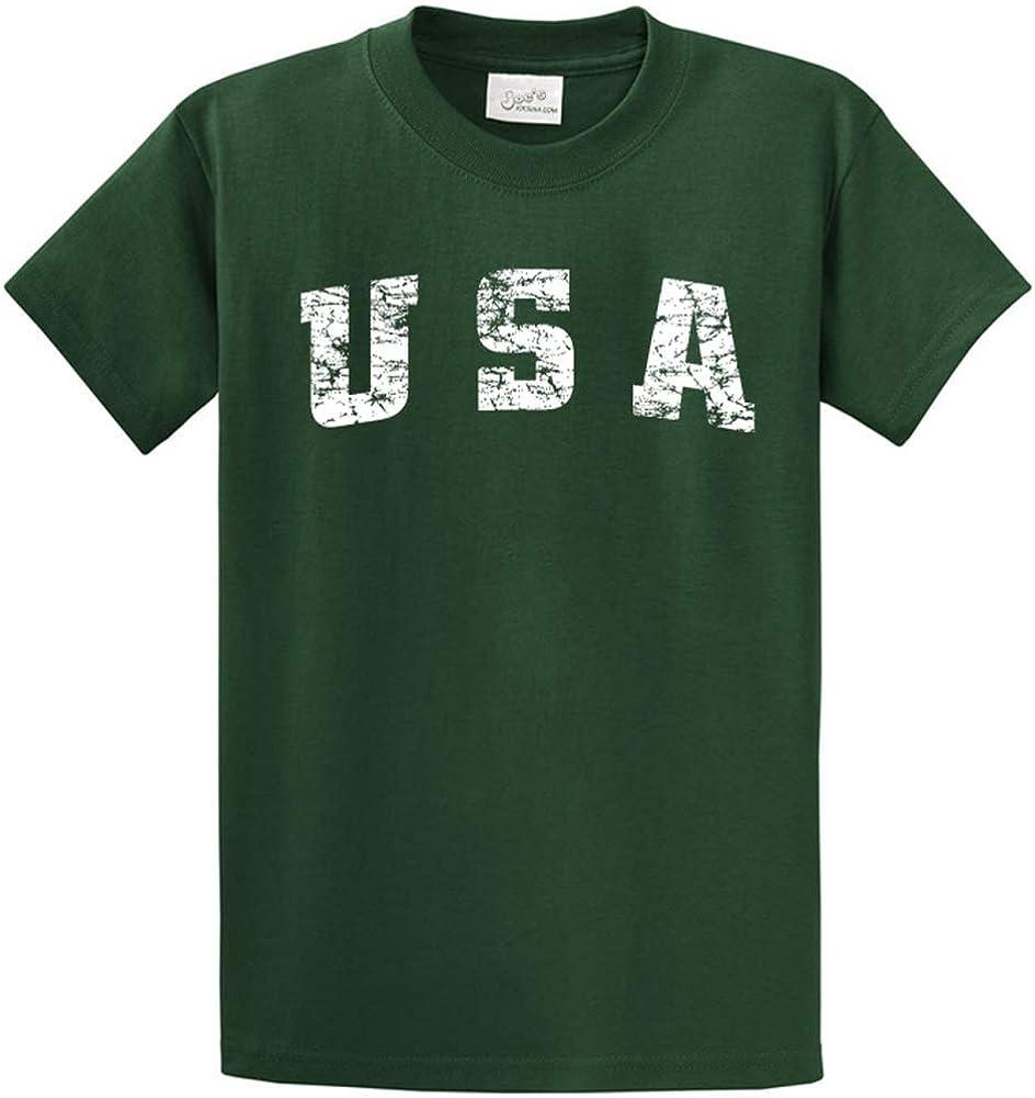 Joe's USA -Tall Vintage USA Logo Tee T-Shirts in Size 2X-Large Tall -2XLT Dark Green