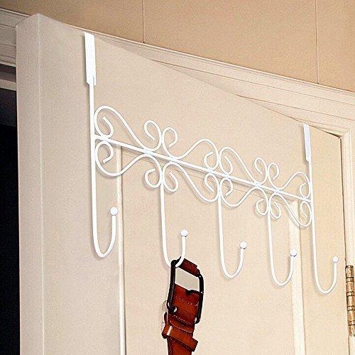 Perchero con 5 ganchos para puertas y paredes, metal, Blanco, 5 Hooks (White)