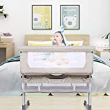 Lamberia 3 in 1 Bassinet for Baby, Easy Folding Co-Sleeper with Mattress Included, Height Adjustable Bedside Travel Crib for Newborn Infant/Baby Boy/Baby Girl (Beige)