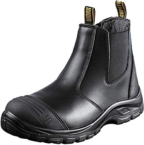 diig Work Boots for Men, Steel Toe Waterproof Working Boots, Slip Resistant Anti-Static Slip-on Safety EH Working Shoes 6 8 9 10 11 12 13 (LV812, 10.5-BLK)