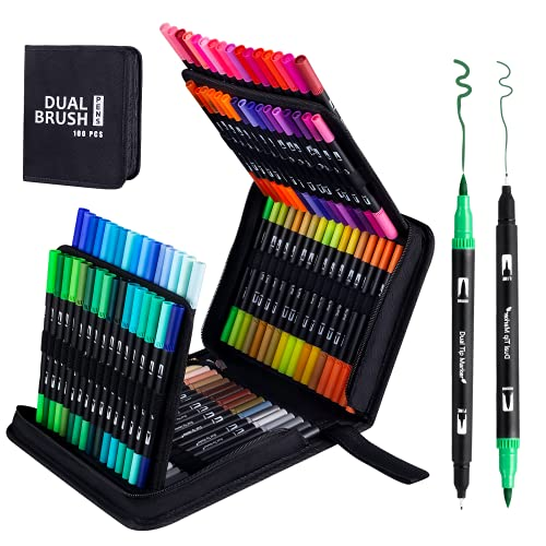 100 Colors Artist Markers Dual Brush Pens,chfine Fine Tip Coloring...